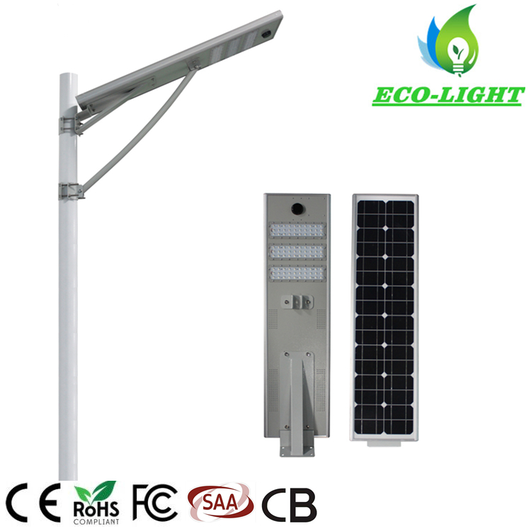 50W IP65 Integrated All in One LED Solar Street Light with Motion Sensor