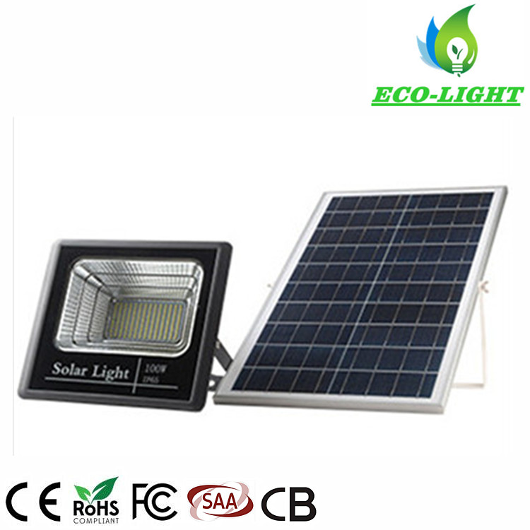 IP65 100W Solar Waterproof LED Flood Light with Remote Control for Building Project Lighting