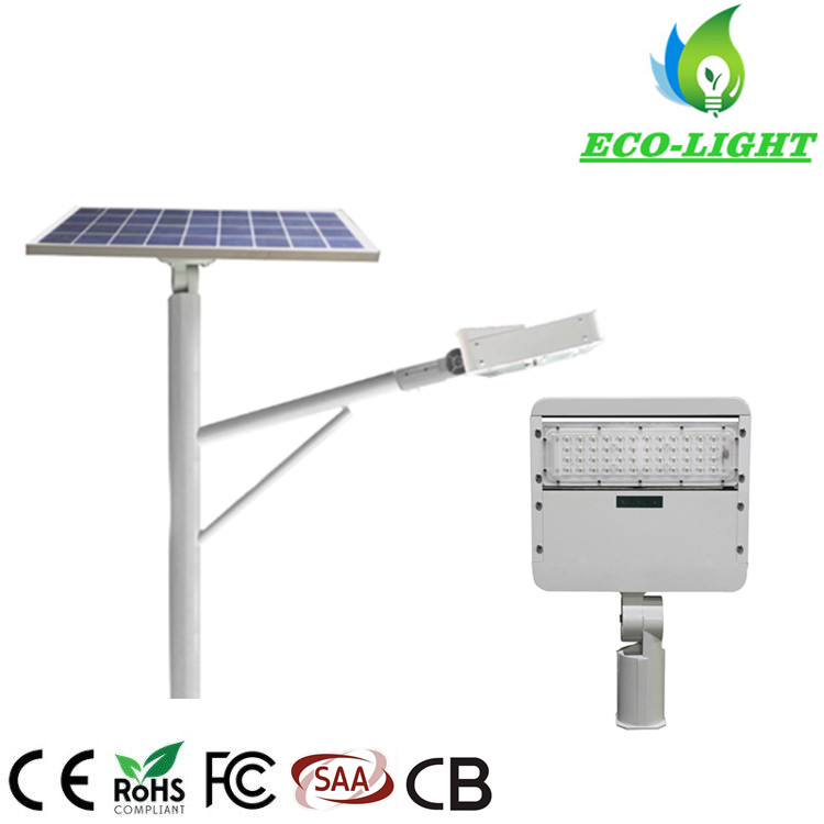 50W Outdoor IP65 with 60 Watt Solar Panel Split LED Modules Solar Street Light with Lamp Pole